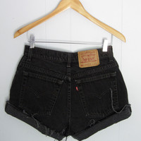 Vintage 90s Levi's High Waisted Cut Off Denim Shorts Jean Black Cuffed 28""