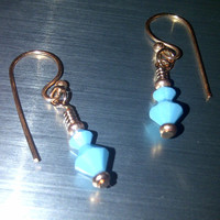 Simply Swarovski Light Blue Copper Earrings