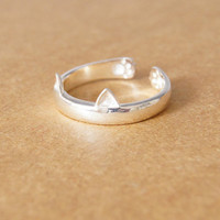 925 Sterling Silver Ring—— Tiny Cute Cat Ear and Paw Ring With Gift Box,Lovely Cat Ear and Paw Adjustable Ring