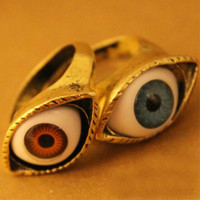 1PC fashion Vintage Retro Punk Gothic Rings Exaggerated Vampire Eye Rings For Women Men Jewelry Brown Blue Color