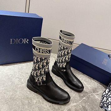 dior trending womens black leather side zip lace up ankle boots shoes high boots 115