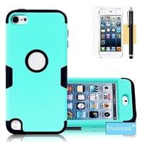 IPod Touch 5 Case, Tradekmk(TM) Brand New Cool Durable Hybrid 3-Piece PC+Silicone Design Shockproof Bumper Slim Hard Back Case Cover Compatible with Apple iPod Touch 5[+Stylus+Screen Protector+Cleaning Cloth]-(Light Green+Black)