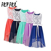 2017 iEFiEL Kids Girls Wedding Bridesmaid Flower Girl Dress Lace Floral High Low Pageant Princess Party Formal Dress 6-14Y