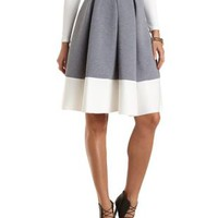 Color Block Full Midi Skirt by Charlotte Russe - Heather Gray Combo