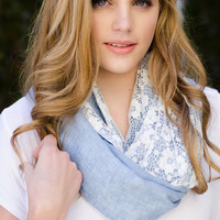 Chambray Lace Infinity Scarf - Sky Blue