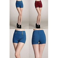 Women Solid Color High Waist Banded Shorts Button Embellishment Zipper Enclosure