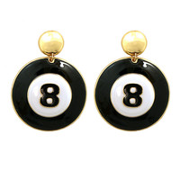 8 Ball Earrings with Gold Trim