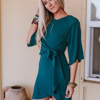 All At Once Keyhole Dress - Turquoise