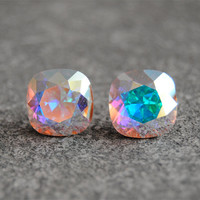 Aurora Borealis Earrings - Northern Lights - Light Pastel Rainbow Earrings - Swarovski Crystal Studs - Mashugana