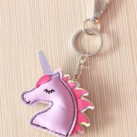 Puffy Unicorn with Pretty Eyelashes Graphic Keychain with Silver Hardware