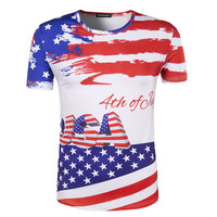 New Arrival Men Print USA Flag 3D T-shirt Short Sleeve Male Stars and Stripes Slim fit Round Neck T Shirt Brand Clothing