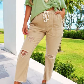 Ready For The Day Pants: Tan