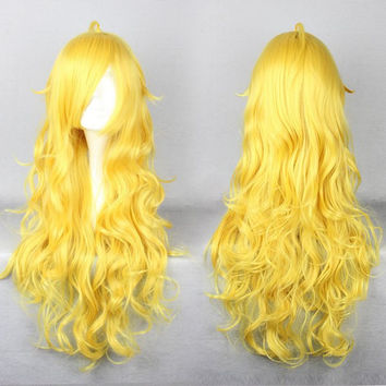 Anime Cosplay RWBY Yang Xiao Synthetic Curly Long Yellow Wig,New Highlight Ombre Colorful Candy Colored synthetic Hair Extension Hair piece 1pcs WIG-011D