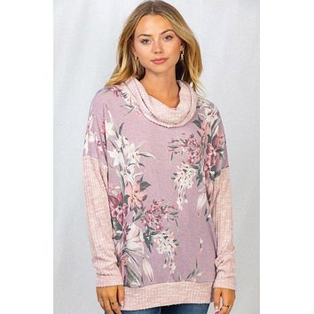 Blooming Buds Mauve Floral Long Sleeve Cowl Neck Top