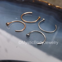 "Rose Gold Nose Ring Hoop 5/16"" Silver Tragus Stud Tiny Dainty Hoops 20g 3/8"" Pierced Nostril Body Piercing Jewelry Rings 2mm Flat End Gauge"