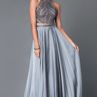 Long, Two Piece Beaded High Neck Prom Dress