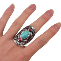 Bohemian style tibet  design  turquoise gem stone big beachy boho joint rings for women