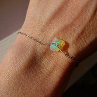 Rough Yellow Fire Opal and 925 Sterling Silver Bracelet