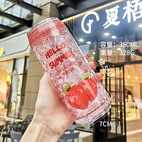 Double Thick Gel Cup Summer Straw Cup Small Fresh Girl Korean Ice Cup Plastic Refrigerator Refrigeration Cold Storage Cup