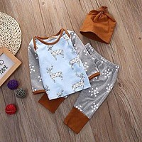 Newborn Baby Girls Boys Clothes Set T-shirt Tops Long Sleeve Pants Hat 3PCS Outfits Baby Boy Clothes Set