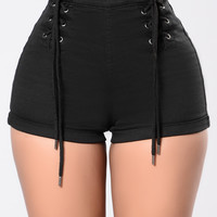 All Work No Vacation Shorts - Black