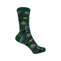 Skunks with Flowers Crew Socks in Forest