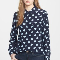 'Slim Signature' Heart Print Silk Shirt