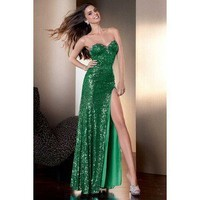 Alyce Designs 2105 Claudine Collection Green Envy Sparkling Prom Dress Sz 8 New