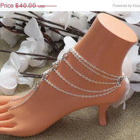 Moving Sale Sized Pair Heart Barefoot Sandals, Barefoot Sandles, Foot Chain, Beach Jewelry, Wedding Jewelry, Foot Accessory, Feet Accessori