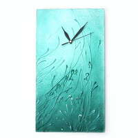 Unique WALL CLOCK, Art wall clock, aqua clock, Wood wall clock, under water, sea home decor, beach decor, turquoise clock