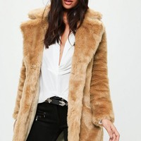 Missguided - Camel Faux Fur Slim Coat