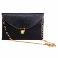 Classic Black Envelope Crossbody Clutch