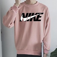 N Nike Trending Women Men Stylish Print Long Sleeve Round Collar Sweater Top Sweatshirt Pink