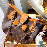 Hipgirls LV New fashion monogram print leather chain shoulder bag handbag Coffee