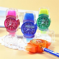 Korean Mechanical Cute Watch Pencil Sharpeners Eraser Kawaii Mini Kids School Office Supply Stationery Store Knife Tool Gift Kit