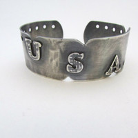 Black Cuff,  Oxidized Bracelet,  Personalized Jewelry,   Ladies Silver Cuff Bracelet, Metalwork