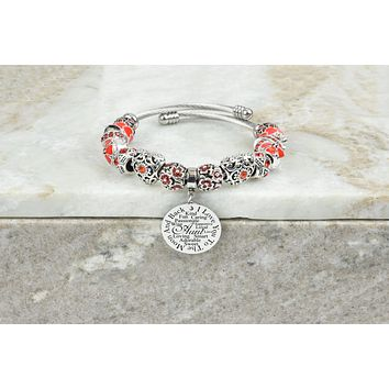 Women's Charmed Inspirational Red Tone Bracelet By Pink Box