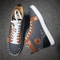 DCCKU62 Cl Christian Louboutin Louis Spikes Mid Style #1813 Sneakers Fashion Shoes