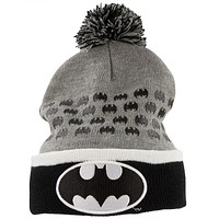 Batman - Logo All-Over Adult Pom Pom Beanie