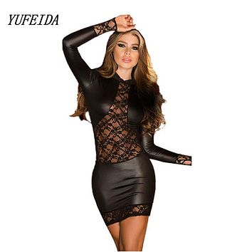 Black Wetlook Lace PVC Dress Bodycon Fetish Faux Leather Gothic Long Sleeves O-Neck Dress