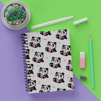 """5.5"""" x 8""""  Blank Spiral Cute Bow Panda Notebook Journal - Write Panda Notes In Style"""