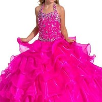 GKD Halter Ball Gown Flower Girls Pageant Birthday Party Gowns