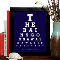 Matchbox Twenty, The Rains Gonna Wash Away I Believe It, Eye Chart, 8 x 10 Giclee Art Print, Buy 3 Get 1 Free