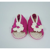 "Crochet Baby sandals, Summer sandals, Custom baby shoes, Fashion baby, Baby accessories with ladybug application - Up to 12 cm (4.7"")"
