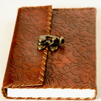 Leather Notebook Journal with Lock and Rustic Brown Color Floral Embossing Handmade Paper Travel Diary