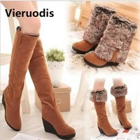 Vieruodis 2018 NEW Wedges High Boots Women Warm boots Black 3 Ways Wear Suede Knee-high Women Snow Boots L141