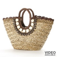 Sun N Sand Beaded Shells Woven Straw Tote