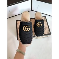 GUCCI New fashion weave canvas high quality shoes slippers Black
