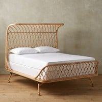 Curved Rattan Bed by Anthropologie in Rattan Size: