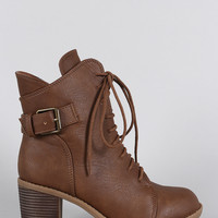 Wild Diva Lounge Curved Top Line Side Buckle Combat Ankle Boots